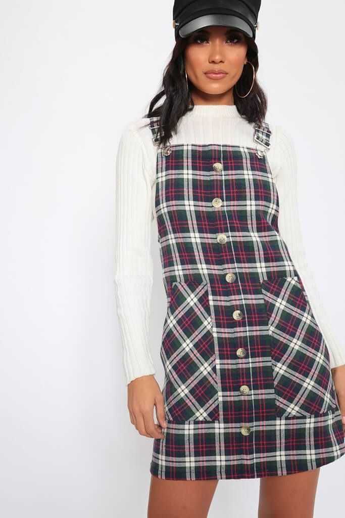 f2d06940412 Red White Check Print Pinafore Dress - 6   RED