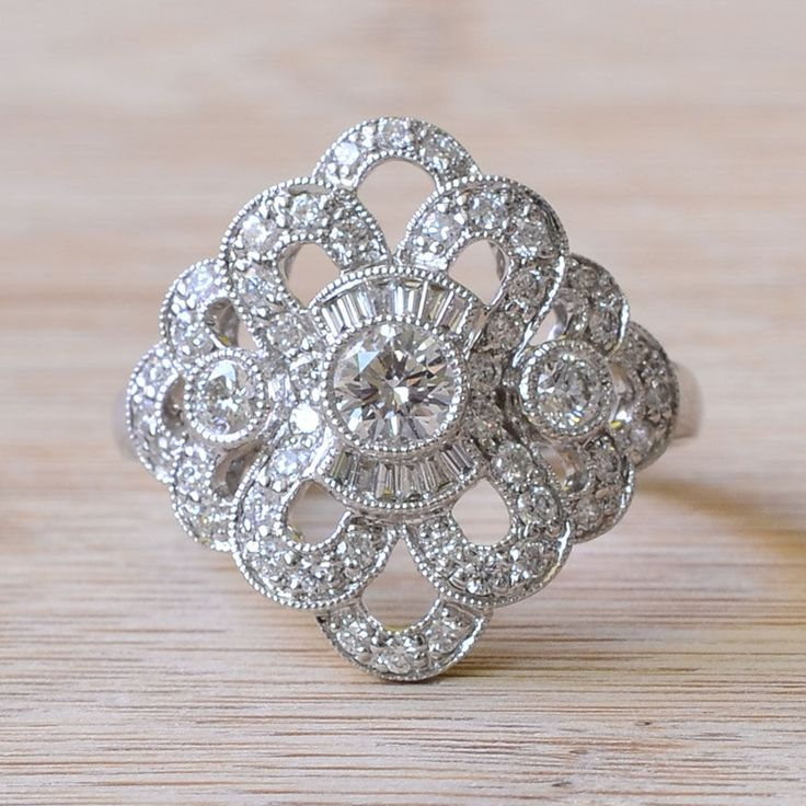 Art Deco Style Diamond Ring - Art Deco Engagement Ring - Estate Diamond Ring - Diamond Engagement Ring - Size 7 Engagement Ring by SolvangAntiques on Etsy