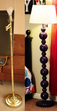 DIY up-cycle a floor lamp tutorial http://www.allthingsthrifty.com/2011/05/diy-unique-lamp-tutorial.html