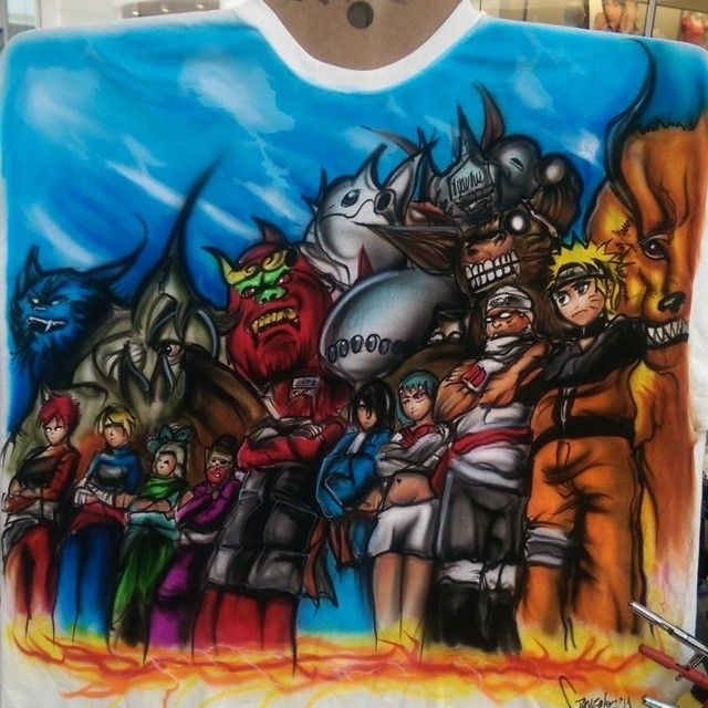 0eb31a4111053 Naruto anime airbrush shirt artwork spray painted on a white shirt ...