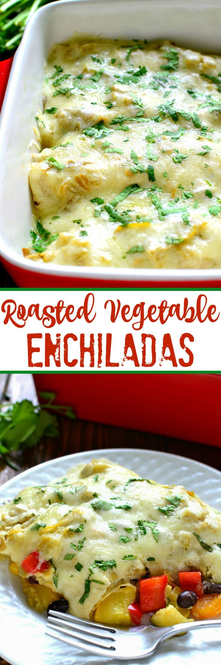 These Roasted Vegetable Enchiladas are packed with fresh veggies, corn, and black beans, then topped with a creamy chile verde sauce and melted Monterey Jack cheese. The perfect option for a healthy, flavor packed, meatless dinner!:
