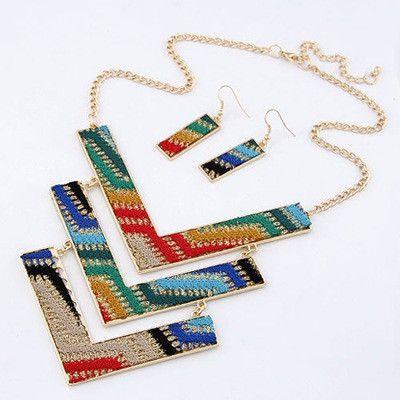 Multicolour Geometric Design Jewellery Set #alloy #every-day #fashion #multi #on-sale #other #sale