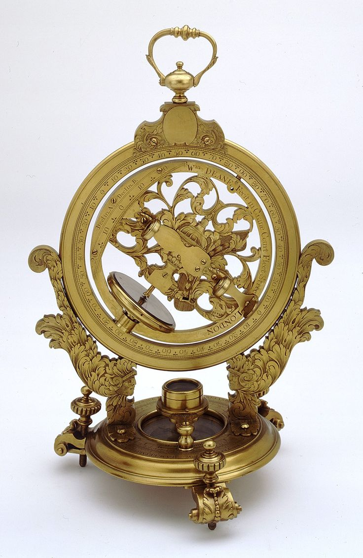 Mechanical equinoctial dial - National Maritime Museum. The concept is of a universal ring dial using an alidade rather than a gnomon to determine the time. The actual hour scale is quite small relative to the rest of the instrument.