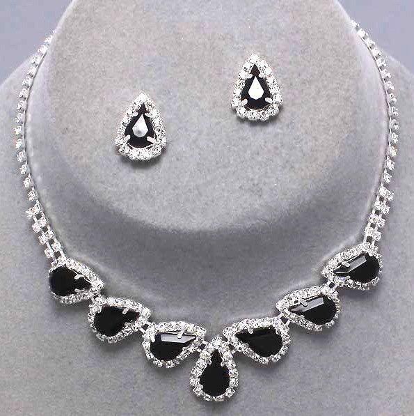 Vintage Inspired Jet Pear Rhinestone Necklace & Earrings Set (Sparkle-1614-U)