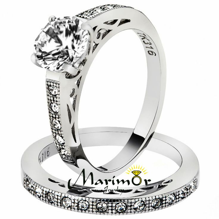 Stainless Steel 139 Ct Round Cut Aaa Cz Wedding Band Ring Set Womens Size