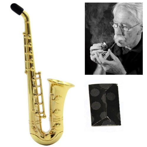 1pcs-New-Sax-Saxophone-Pipe-Smoking-Holder-Golden-Tobacco-Cigarette-Pipes