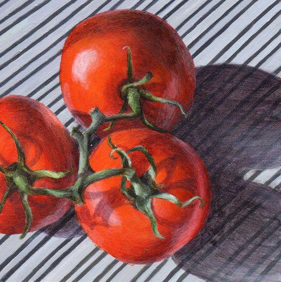 Acrylic Still Life Painting - Original Art Tomato on Stripes Food Art. $65,00…