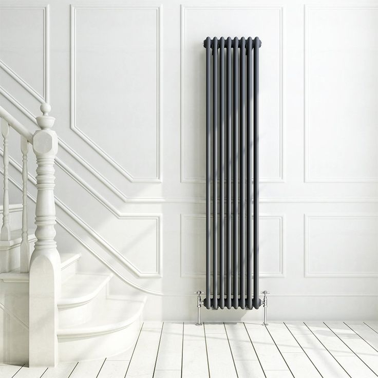 iBathUK | 1800 x 380 mm Traditional Cast Iron Anthracite Triple Column Vertical Radiator