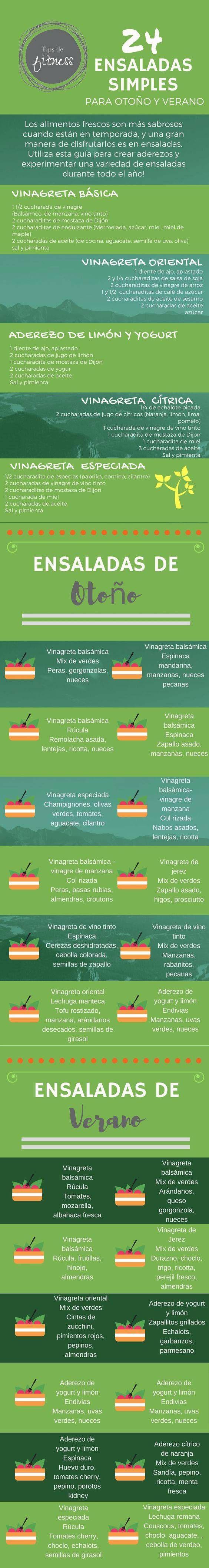 24 formas de preparar ensaladas tanto en invierno como en otoño.  #ensaladas #infografias #nutricion