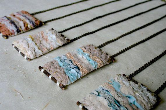 Wearable Textile Art Necklace: Mini Weave by AVisualSensibility