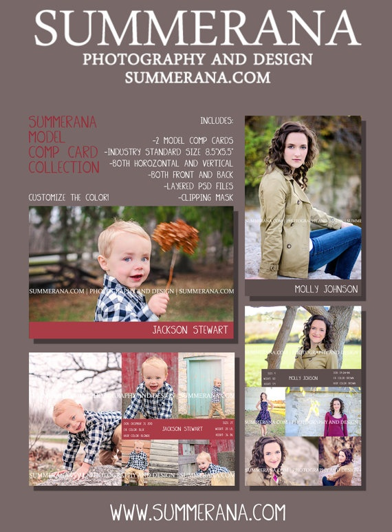 Summerana Model Comp Card Template Collection by Summerana on Etsy, $10.00
