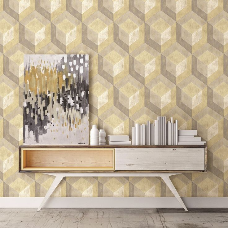 This on trend reclaimed wood geometric wallpaper is a modern twist on a retro style pattern. Featuring rustic wooden tiles with a beige distressed mica highlight effect on yellow, light grey and dark grey tiles. It's paste the wall too, making it quick and easy to hang.