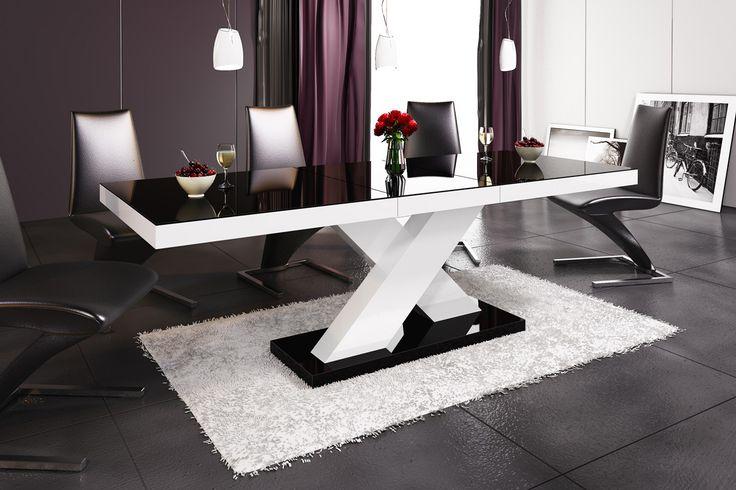 Modern Black White Dining Table.
