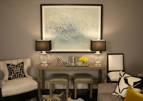 Love This Whole Room, Especially The Taupe Gray Paint Color. White Gray  Black Modern Living Room Design With Tufted Cream Chair With Black U0026 White  Greek Key ... Part 12