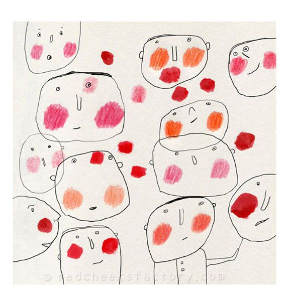 red cheeks giclee print - cheerful drawing - children wall art - whymsical faces - art for kids - circus clowns- Red Cheeks Factory print by RedCheeksFactory on Etsy https://www.etsy.com/listing/170768441/red-cheeks-giclee-print-cheerful-drawing