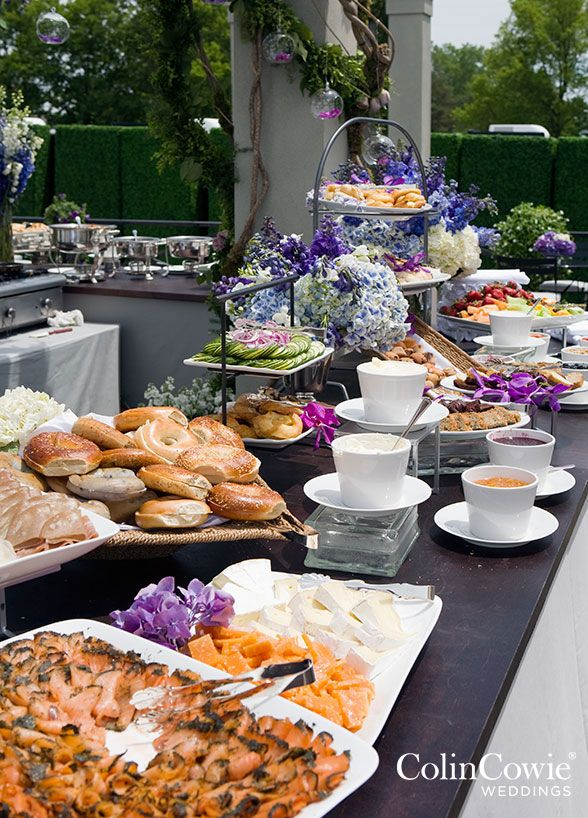 Everyone loves brunch and your wedding is no exception! Pastries, bagels, smoked salmon and spread are a great way to wish your guests a very good morning. Buffet, Wedding Catering, Food Bar, Party Food Ideas || Colin Cowie Weddings