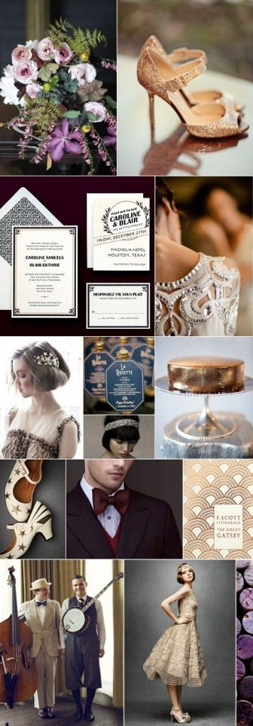 Art Deco Glamour-- Especially love the shoes, invitation suite, and the bottom right dress