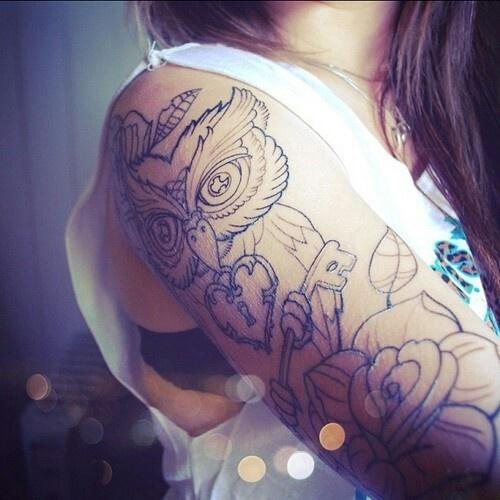 Owl tattoo sleeve.  I want this so bad.