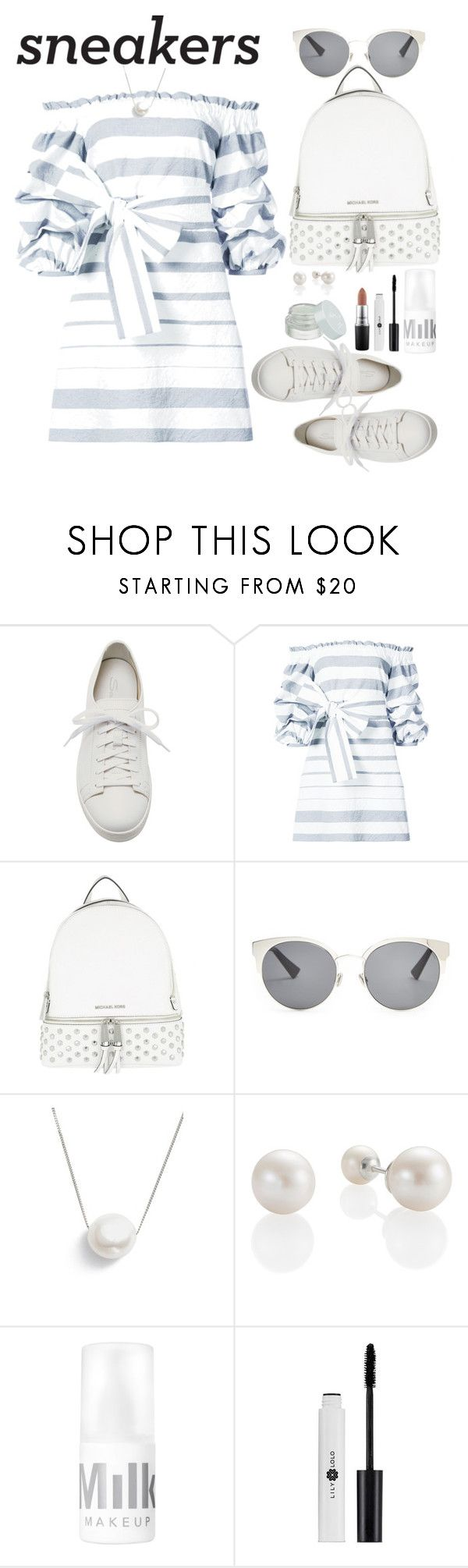 """""""White Sneakers"""" by marionmeyer ❤ liked on Polyvore featuring Santoni, Alexis, MICHAEL Michael Kors, Christian Dior, Chan Luu, MAC Cosmetics and whitesneakers"""