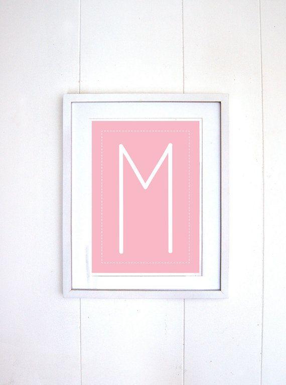 Pink Letter M wall art baby girl nursery von TheLittlePosterShop