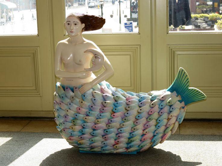 Mermaid statue Sirène of Sergio Bustamante (Mexico, 1943) in Hotel Steigenberger Kurhaus.