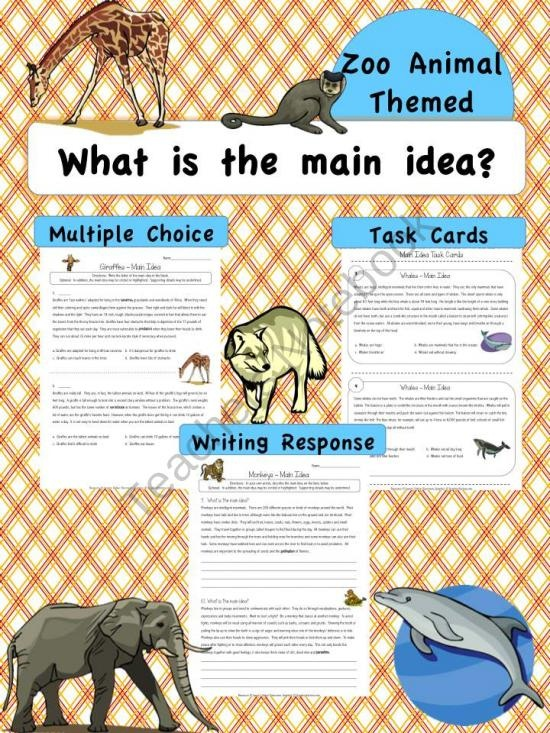 Main Idea Worksheets Zoo/Wild Animal Themed product from