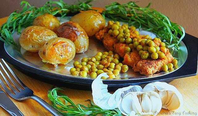 Roasted new Potatoes with Tarragon and Baked Chicken Thights and Peas - SANDRA'S EASY COOKING