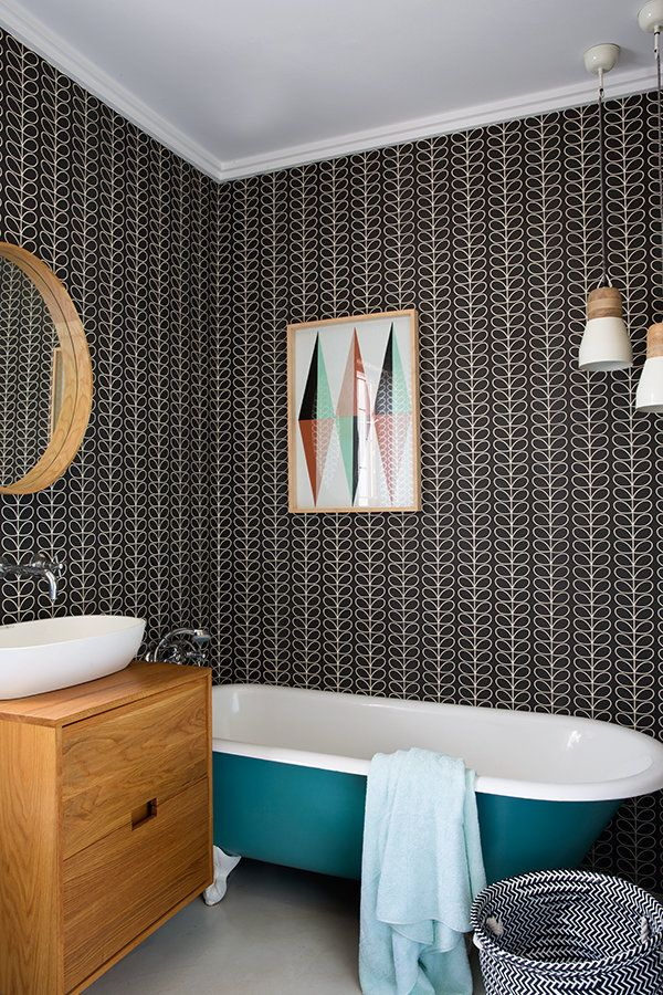 Wallpaper Feature Wall Ideas Part - 26: Bathroom Feature Wall With Orla Kiely Wallpaper