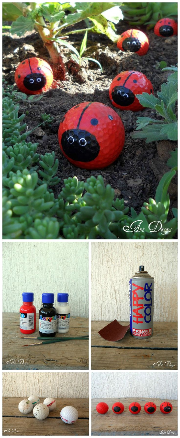 Do you have any old golf balls that you don't use anymore? Here is a nice tutorial found at Artdrops to reuse them into happy ladybugs for your garden :) Sand the golf balls all over the surface with a sandpaper and spray primer paint for the final paint to better adhere on their surface. When the…