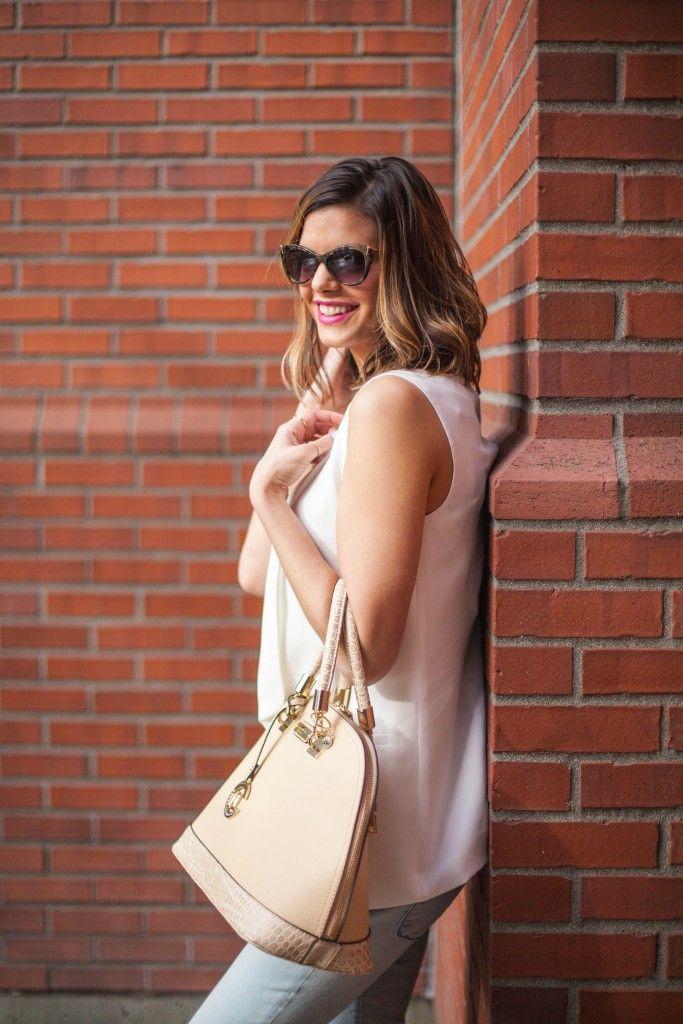 Spring Style | Neutral Handbag | Denim and White | Sleeveless Vest | Street Chic | www.stylemissmolly.com