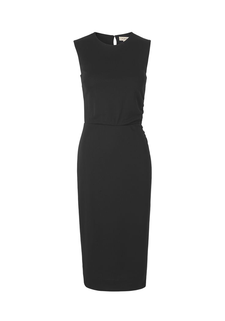 Little black dress in jersey. No sleeves, clinched in the waistline with a wrap effect. Washable and useful for every occasion. mo. 9212 ivonne