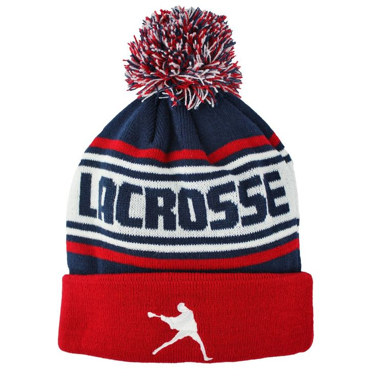 #LacrosseUnlimited Lacrosse Knit Hat- Red