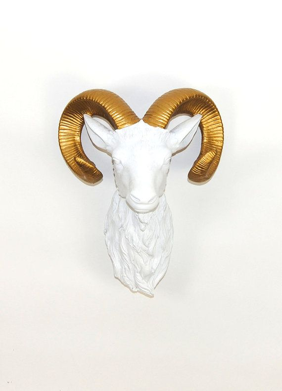 White Faux Taxidermy - White Ram Head w/Gold Horns - The Adin - Faux Taxidermy - Chic & Trendy