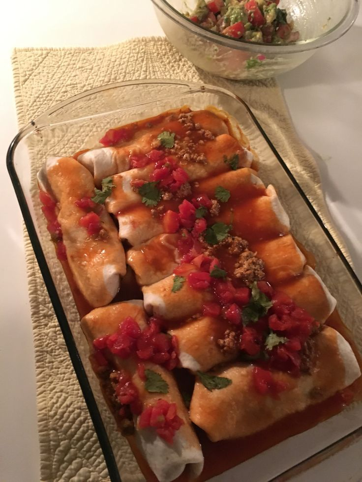 A slightly lighter enchilada with big flavor! This recipe will leave you craving these again and again. The best enchilada recipe ever! What you'll need: 1 to 2 pounds ground turkey 1/2 mince…