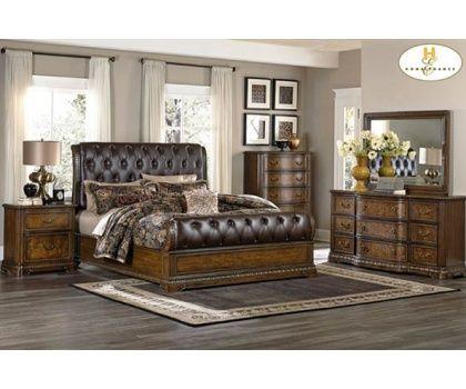 Homelegance Brompton Dark Brown Tufted Leather Sleigh Bed With Cherry Wood  Bedroom Set