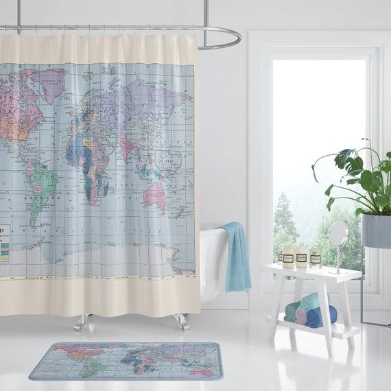 World Map Shower Curtain Travel Decor Fabric Home Decor Bathroom Travel Blue Pastel Histor Bathroom Themes Vintage Shower Curtains Bathroom Decor