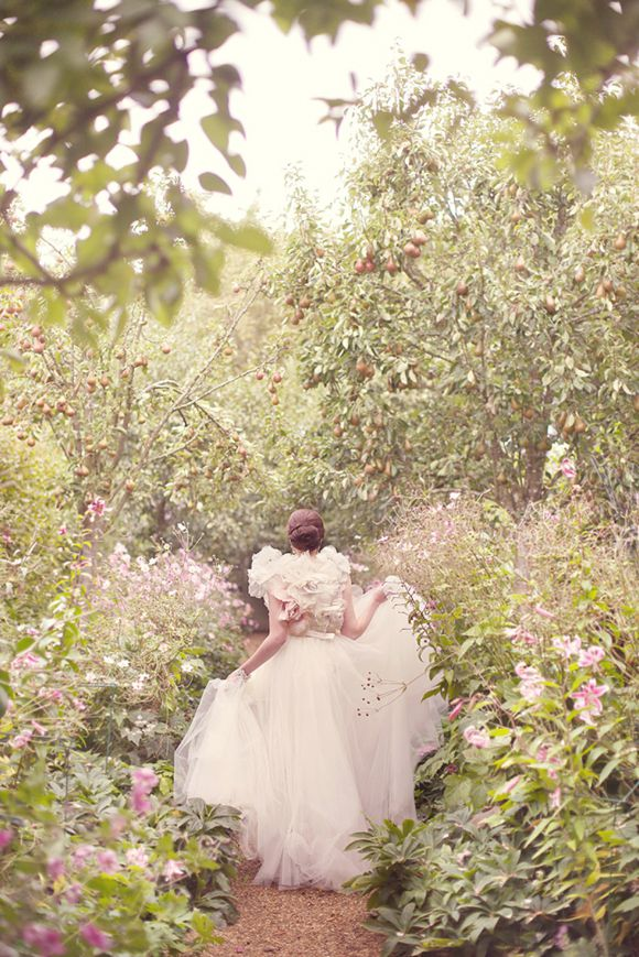 Dreamy pink tulle wedding dress, from 'A Secret Garden' photoshoot on www.lovemydress.net // Photography by http://www.sarahgawler.co.uk/, styling by http://www.eburyhomeandgarden.com/stillsproductionandstyling.html