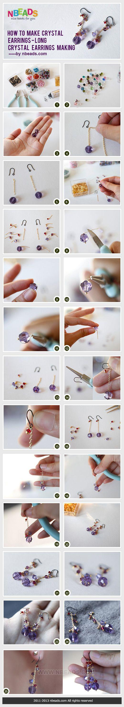 how to make crystal earrings - long crystal earrings making