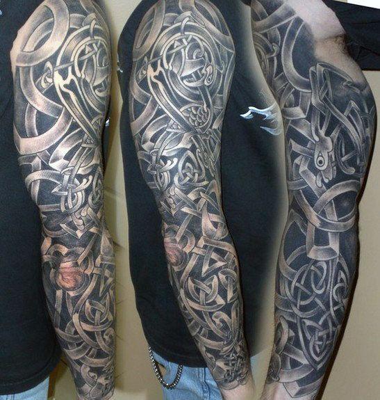 Black And Grey Male Celtic Sleeve Tattoo Design Ideas