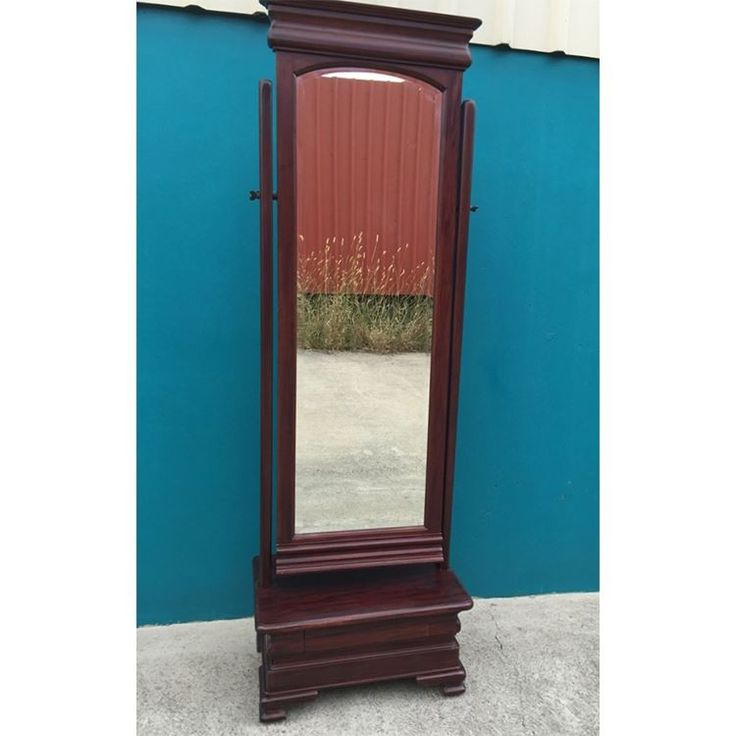 Antique Style Solid Mahogany Wood Cheval Mirror With Drawer