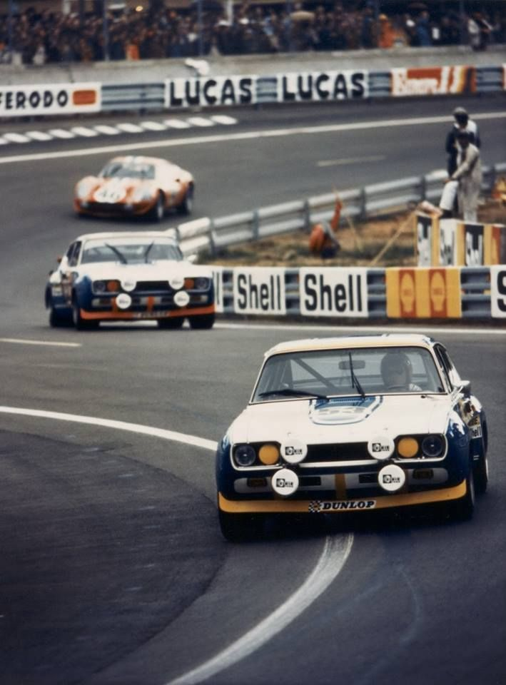 1972 .. Le Mans .. Entered by Ford Deutschland , 2 Capri RS 2.9s No.53 car DNF> oil pump .. No. 54 driven by Birrell / Bourgoignie , finished 10th o/a , and 1st in class .