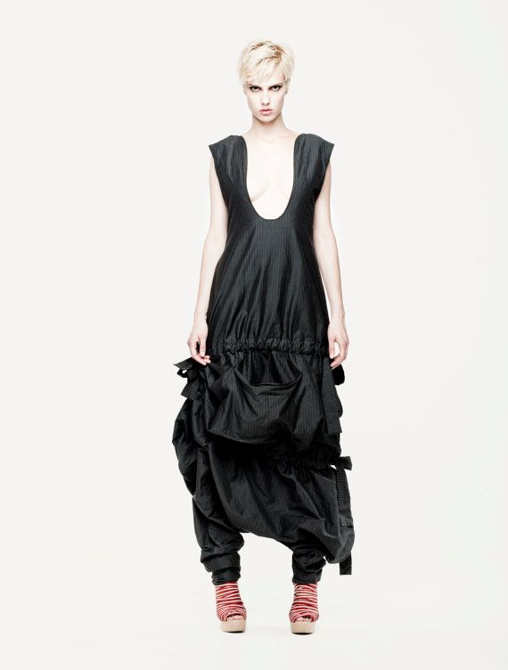 Black decostructive jumpsuit/ Amazing black by MariaQueenMaria