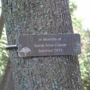 AS SEEN IN OPRAH MAGAZINE. This authentic Tree Hugger® custom tree dedication plaque engraved with your own special message is the perfect way to commemorate an event, mark a milestone or celebrate a life.