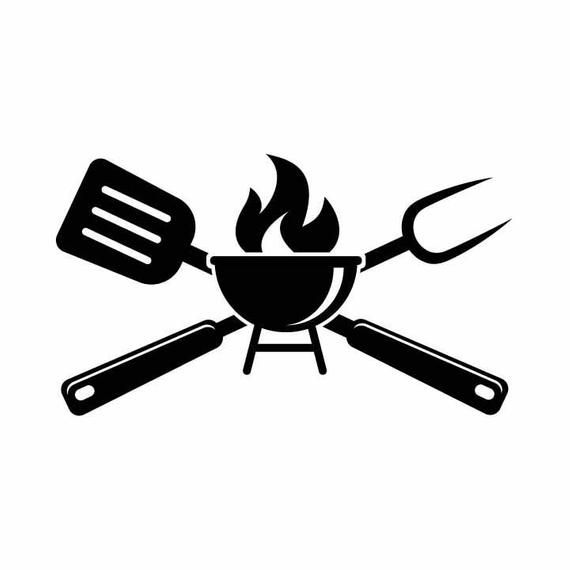 Bbq Grilling Grill Fork Spatula Barbecue Cooking 1 Vector Eps Svg Dxf 1 Png Vinyl Cutter Ready T Shirt Cnc Clipart Graphic 0046 Bbq Grill Grill Logo Bbq