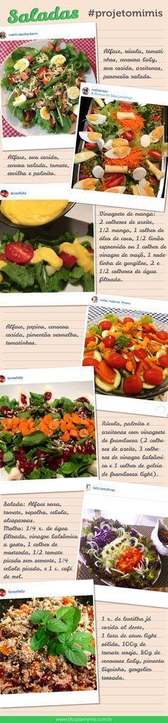 Várias receitas de saladas deliciosas pra vocês!                                                                                                                                                                                 Mais