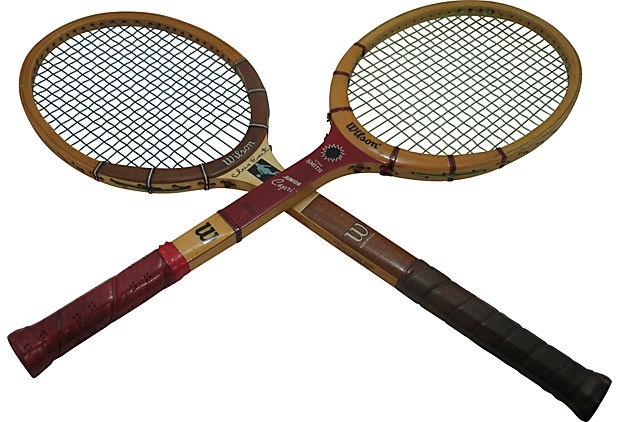 Two Wilson midcentury tennis rackets; great for wall display.