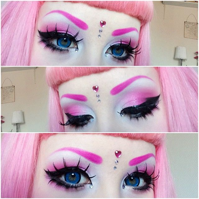 Pretty typical makeup for me today but hey, there is no such thing as too much pink  ♡ Eyebrows are @sugarpill pressed eyeshadow in Dollipop, eyelids are Tako from Sugarpill and @candy_rockcouture (Inked Barbie Cosmetics) eyeshadow pigment in Harajuku Barbie Party, lashes are from @Dolluxe and lenses from @loveshoppingholics! ☆