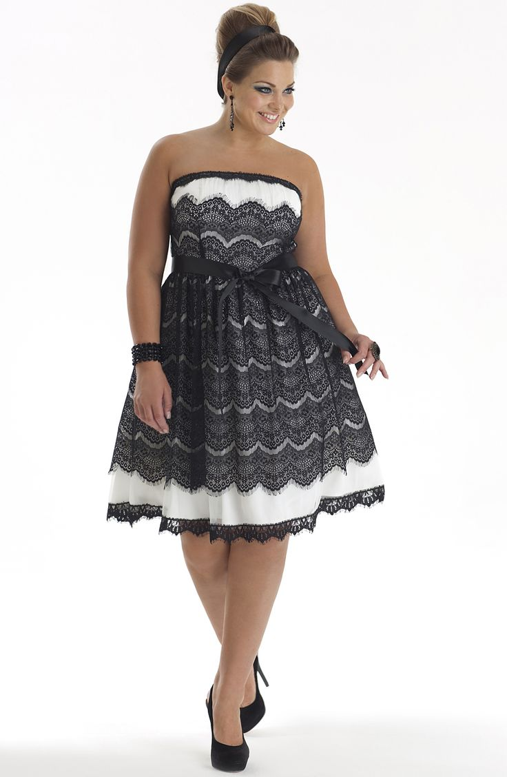 Black and White Plus Size Cocktail Dresses