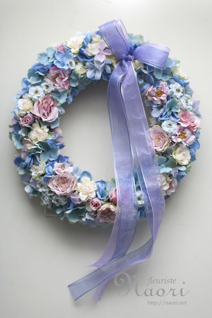 Blue Hydrangea and Rose Wreath  Wedding
