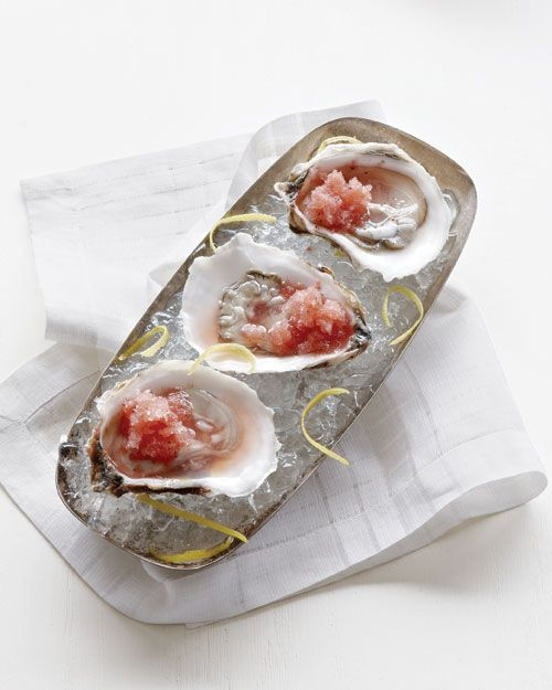 Oysters on the Half Shell with Watermelon Granita, Wholeliving.comOysters, Classic Mignonette, Watermelon Juice, Granita Recipe, Half Shells, Frozen Watermelon, Watermelon Granita, Delicious Riff, Lemon Juice